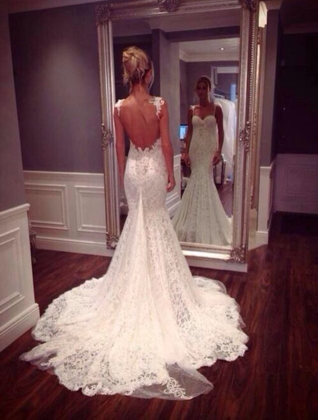 Custom Made Sweetheart Line Backless Lace Wedding Dresses, Dresses ...