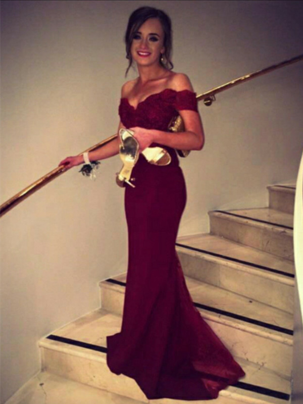 a22235fbc233 Custom Made Sweetheart Neck Off Shoulder Burgundy Lace Prom Dress ...